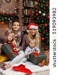 christmas photos of happy family | Shutterstock . vector #519093982