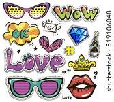 sketch comics set of stickers... | Shutterstock .eps vector #519106048