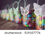 chocolate candies in jars for... | Shutterstock . vector #519107776