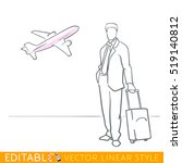 man with bag into airport.... | Shutterstock .eps vector #519140812