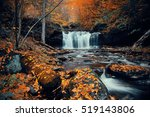 Autumn Waterfalls In Park With...