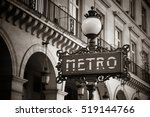Paris Metro Sign In Street