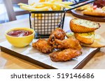 fried chicken wings with red... | Shutterstock . vector #519146686