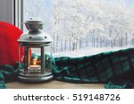 Winter Background Lantern With...