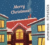 merry christmas vector card in... | Shutterstock .eps vector #519165226
