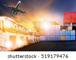 container truck  ship in port... | Shutterstock . vector #519179476