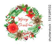 christmas wreath and bouquets.... | Shutterstock .eps vector #519189532