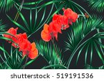 tropical flowers  palm leaves ... | Shutterstock .eps vector #519191536