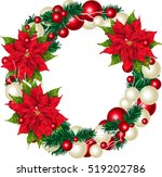 christmas wreath  isolated on... | Shutterstock .eps vector #519202786