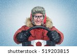 happy man in winter clothes... | Shutterstock . vector #519203815