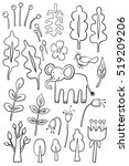 hand drawn plants and animals  | Shutterstock .eps vector #519209206