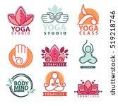 set of yoga and meditation ... | Shutterstock .eps vector #519218746