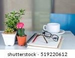 coffee cup  notebook  cactus ... | Shutterstock . vector #519220612