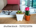 Small photo of Cactus, succulent pots & coffee cup decoration on wooden table / Interior plants for air pollution abatement concept
