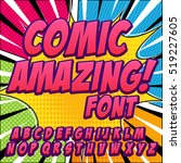 comic alphabet set. letters ... | Shutterstock .eps vector #519227605