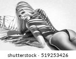beautiful girl with long hair... | Shutterstock . vector #519253426