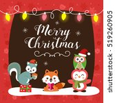 christmas card with cute... | Shutterstock .eps vector #519260905