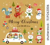 set of cute cartoon christmas... | Shutterstock .eps vector #519262006