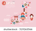 japan travel map in flat style  ... | Shutterstock .eps vector #519263566