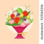 bouquet of beautiful flowers.... | Shutterstock .eps vector #519265246