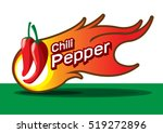 hot chili pepper with fire burn ... | Shutterstock .eps vector #519272896