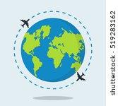 flying plane. the path plane.... | Shutterstock .eps vector #519283162
