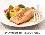 roasted salmon fish fillet with ...   Shutterstock . vector #519297082