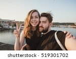 happy young couple in love... | Shutterstock . vector #519301702