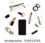 flat lay  top view feminine...   Shutterstock . vector #519313792