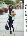 asian student or school girl... | Shutterstock . vector #519315556