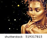 gold woman skin. beauty fashion ... | Shutterstock . vector #519317815