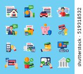 loan debt flat color icons set... | Shutterstock . vector #519318532