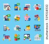 loan debt flat color icons set... | Shutterstock . vector #519318532