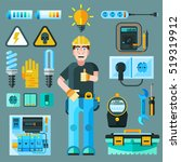 electrician icons set with... | Shutterstock . vector #519319912