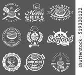 set of seafood labels | Shutterstock .eps vector #519320122