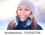 winter girl portrait. beauty... | Shutterstock . vector #519325756
