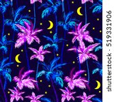 vector palms pattern with moon... | Shutterstock .eps vector #519331906