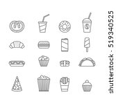 fast food. set of minimalistic... | Shutterstock .eps vector #519340525
