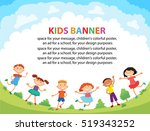 children are jumping on the... | Shutterstock .eps vector #519343252