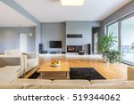 blue and spacious room with... | Shutterstock . vector #519344062