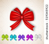 festive gift satin ribbon bows... | Shutterstock .eps vector #519345922
