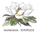 white magnolia flower in leaves ... | Shutterstock . vector #519353152