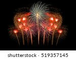 colorful fireworks on the black ... | Shutterstock . vector #519357145