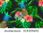 tropical flowers  pineapples ... | Shutterstock .eps vector #519359692