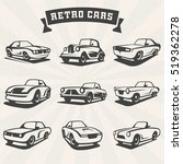 set of classic cars silhouettes.... | Shutterstock .eps vector #519362278
