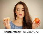 beautiful young woman making... | Shutterstock . vector #519364072