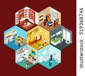 shopping mall hexagonal...   Shutterstock . vector #519368746