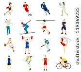 people sport isolated icon set... | Shutterstock . vector #519369232