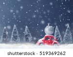 silver ball christmas on red... | Shutterstock . vector #519369262