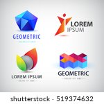 vector set of colorful abstract ... | Shutterstock .eps vector #519374632